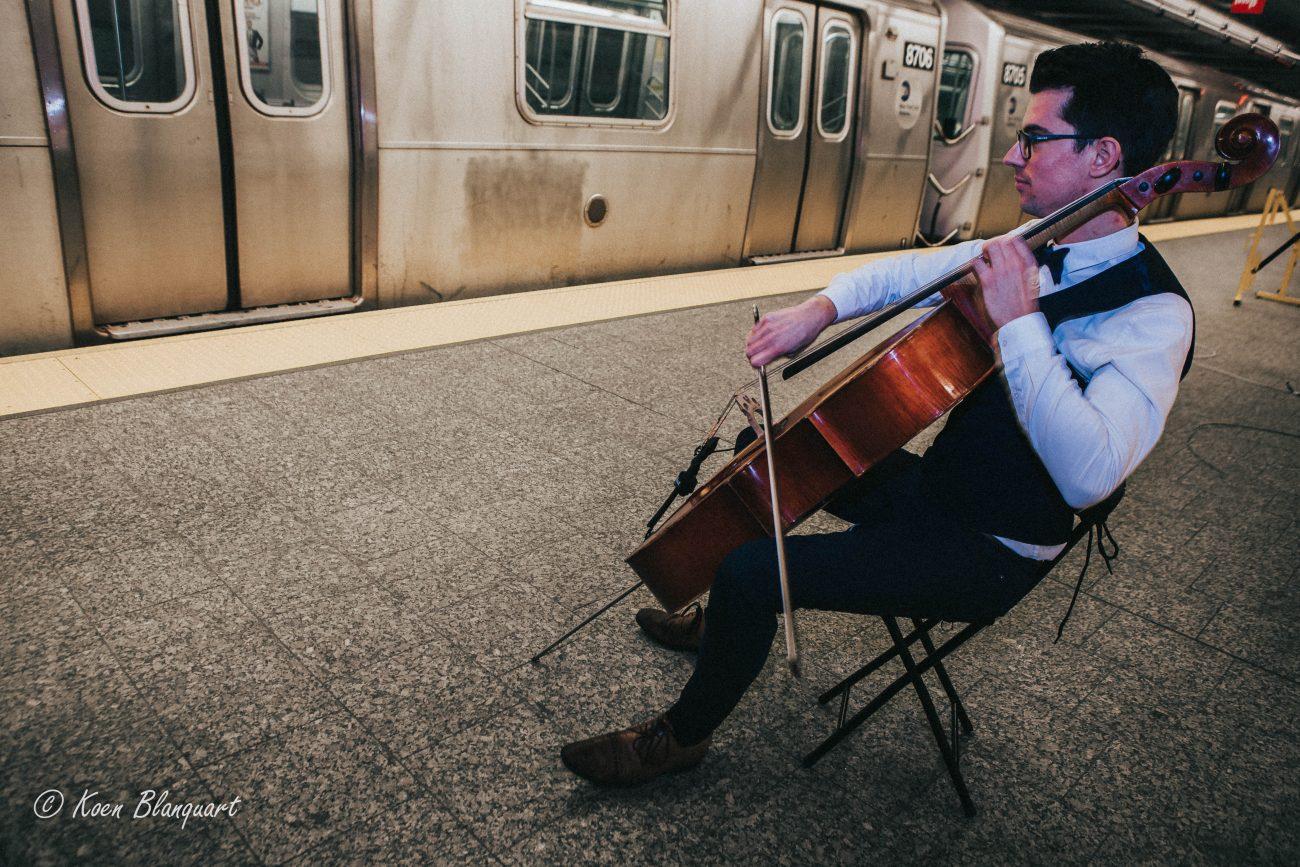 Cellist playing on the Q Train Platform in Manhattan
